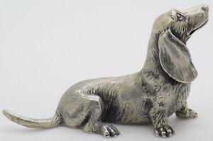 Vintage Solid Silver Handmade RARE Large Dog Figurine Hallmarked Miniature