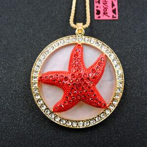 New Animal Betsey Johnson Shiny Crystal Starfish Pendant Necklace Sweater Chain