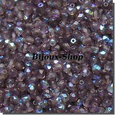 100 Perles de bohème facette 4mm Tchèque coloris Améthyste médium AB