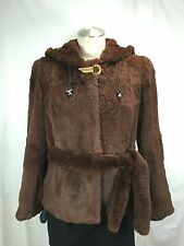 AFFORDABLE GORGEOUS WARMTH SADDLE-BROWN FRENCH REX LADY BELTED HOODIE FREE SHIPG