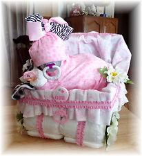 Baby Shower Girl Diaper Baby Cake & Stroller