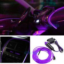 6.5ft Purple El Wire Car Interior Fluorescent Neon Cold Strip light Fit Bmw