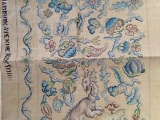 Vntg. Lucie Newman Asian design Handpainted 2 Crewel Canvases + yarn Madison Ave