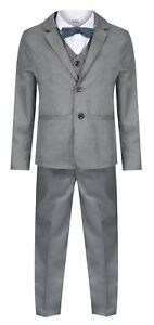 Baby Boys Toddler Suits Grey 5 Piece Boys Wedding Suit Page Boy Party Prom