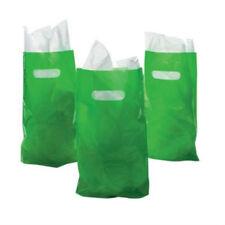 Medium Green Plastic Bags with Die Cut Handles pack of 50
