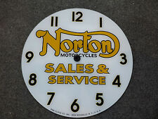 """*NEW*14.25"""" NORTON MOTORCYCLES ROUND GLASS FACE FOR PAM CLOCK"""