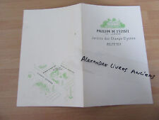 MENU RESTAURANT PAVILLON DE L'ELYSEE JARDIN DES CHAMPS ELYSEES  1960