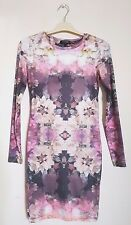 Topshop Pink Muted Floral Photo Print Long Sleeve Lightweight Bodycon Dress 8