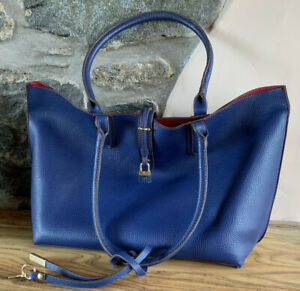 Tutilo New York Vegan Leather Pebble Tote/Shopper in Marine with Blue red lining