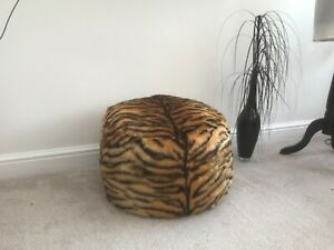Tiger Faux Fur Pouffe / Footstool. Made in the uk. New