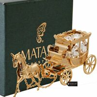 Matashi 24K Gold Plated Crystal Studded Horse Drawn Carriage Ornament For Gift