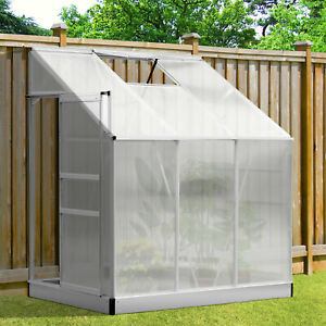 Outsunny 6'x4' Lean-to Greenhouse Polycarbonate Aluminum Garden Cold Frame Room