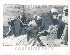 1943 WWII Italian Workers Clean up Bomb Debris Sicily Press Photo