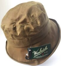 WOOLRICH BROWN ROLLED OIL CLOTH COTTON BUCKET HAT RAIN CAP L LARGE 59cm 7 3/8