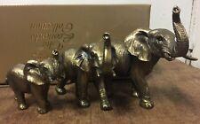 More details for  bronzed elephant family ornament figurine by leonardo elephant family statue