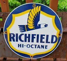 VINTAGE RICHFIELD GASOLINE PORCELAIN GAS SERVICE STATION PUMP PLATE AD SIGN