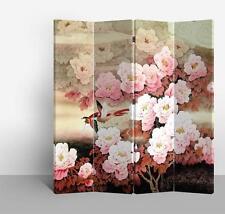 Divisor De Habitaciones Pantalla Plegable Rosa mudans 4 panel Oriental Asiática De Lona Impresa