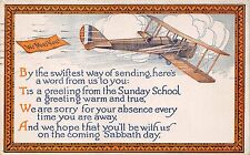 AKRON OHIO~HOPE THAT YOU WILL BE WITH US COMING SABBATH~BIPLANE POSTCARD 1921