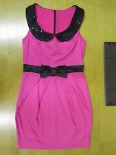VIVID PINK/BLACK LOVE LABEL SLEEVELESS DRESS SIZE 8 BLACK BEADING TO COLLAR