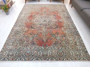 Caucasian Rug 6.8 x 9.4 ,Hand Knotted Rug,Antique Carpet,Living Room Wool Rug.