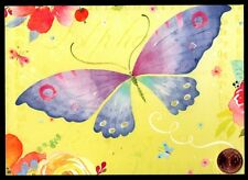 PAPYRUS Butterfly Purple Blue Watercolor Flowers  -  LARGE Blank Note Card - NEW