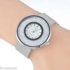 Women Wristwatch Stainless Steel Quicksand Lovers Gift Bracelet Watch NEW