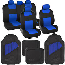 Black & Blue Seat Covers Set Complete with Deep Channeled Rubber Floor Mats