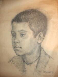Boy portrait Antique pencil drawing signed