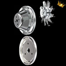 Chrome Small Block Chevy 3 Pulley Set For Sbc 283 327 350 383 400 Swp