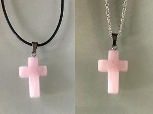 UK Rose Quartz Crystal Gemstone Cross Pendant Black Cord/Silver Necklace Chain