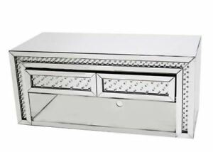 NEW Rhombus Mirrored Glass Silver Crystal TV Stand Unit/two draw/Home decor