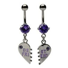 Purple Crystal Heart Best Friends Belly Bar Pair - Size 14g (1.6mm) - 10mm