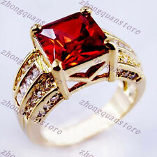 Women Red Ruby Wedding Ring CZ 10KT Yellow Gold Filled Engagement Band Size 12