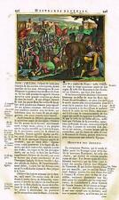 """Gueudeville's Theatre - """"HE OPPOSES ATTILA"""" - Hand-Colored Engraving -1703"""