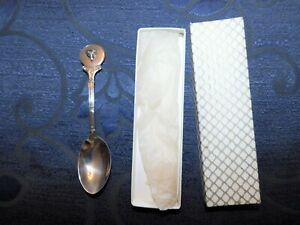 VINTAGE BNIB SILVER PLATED TEA SPOON CAST FOX HEAD ON HANDLE ENGRAVED SALAD