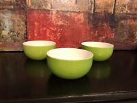 3 Crate & Barrel Hamptons Green Lime LG Cereal Salad Soup Rice Pasta Bowls RARE