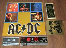 AC/DC Japan TOUR BOOK 1982 + gig TICKET STUB + 3 x PROMO STICKERS set!