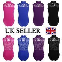 UK Kids Girls Gymnastics Ballet Dancewear Leotards Sleeveless Lace Back Bodysuit
