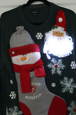Ugly Green Christmas Sweater Ohio State Snowman Mens SIZE M Lights Up #15D87