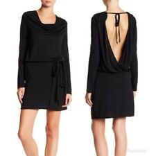 $395 Haute Hippie Faux Wrap Back Long Sleeve Dress Black Size Medium  New!