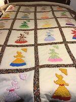 "Vintage Amish Style Quilt Handmade Sewn Lady Parasol Umbrella W/Bonnet 89""x102"""