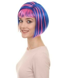Adult Women's Blue and Pink Shinning Bob Wig HW-256
