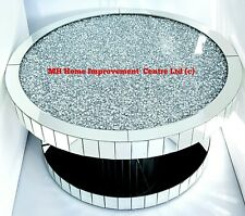 Round Mirrored Large Coffee Table Silver Sparkly Diamond Crush Crystal D90 H46cm