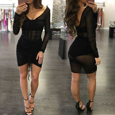 Summer Sexy Women Bandage Sheer Bodycon Evening Party Cocktail Short Mini Dress