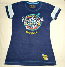 Hard Rock Cafe New York Ringer Tee Juniors Large Guitar Logo Blue Shirt NYC HRC