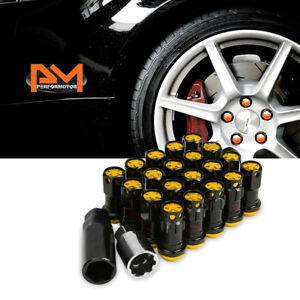 M12X1.25 Gold JDM Closed End Lug Nuts+Spline Locks+Key+Extension 22mmx45mm 20Pc