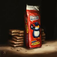"Penguin Biscuits Jane Palmer Art original oil painting 8x8"" Still Life Realism"