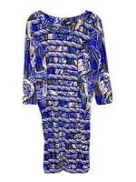 BCBGMAXAZRIA Paisley Blue Dolman Sleeve Stretch Dress Women's Size M A2