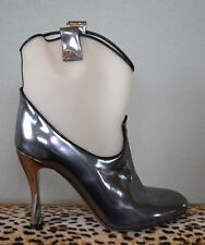 MARC JACOBS Silver Metallic Clear Cowboy Boots Heels Shoes Sz 39 US 9 *sample