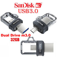NEW SanDisk Ultra 32GB USB OTG Dual Drive m3.0 for Android Devices and Computers